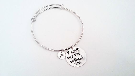 Personalized bridesmaid bracelet, bangle bracelet, silver, I can't say yes without you, custom initial bridesmaid proposal best friends gift by RobertaValle on Etsy