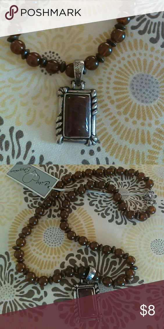 City Gypsies Statement Necklace Brown beads with brown stone encased in Silvertone. Classic,  wear with any fashion. Offers welcome! Jewelry Necklaces
