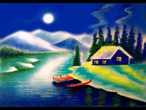 How To Draw Moonlight Scenery Night Scene Landscape Painting With Soft Pastel Youtube Drawing Scenery Oil Pastel Drawings Easy Basic Painting