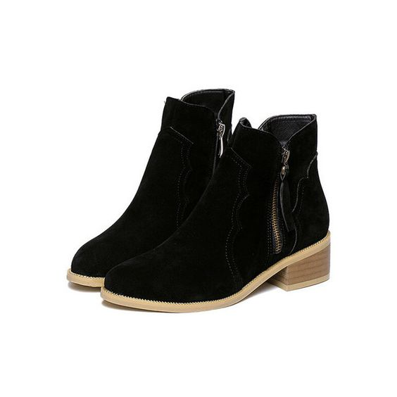 SheIn(sheinside) Black Chunky Heel Zipper Casual Boots (48 CAD) ❤ liked on Polyvore featuring shoes, boots, black, winter boots, chunky heel boots, black shoes, pointed toe boots and short black boots