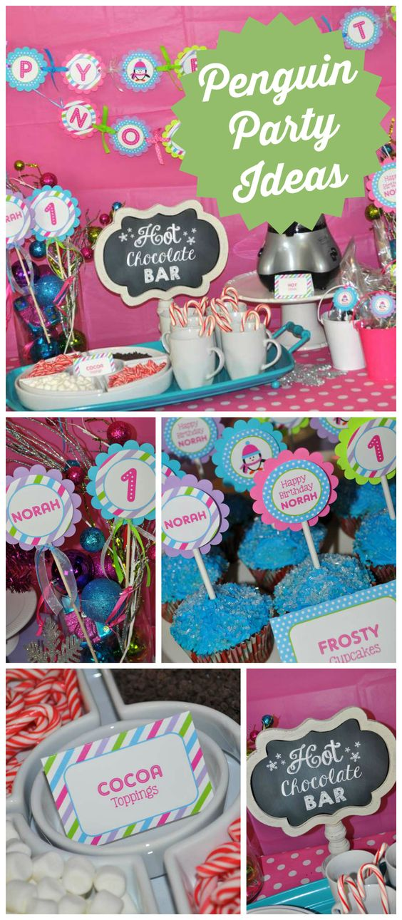 A girl penguin birthday party with a hot cocoa bar and tasty toppings! See more party planning ideas at CatchMyParty.com!