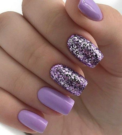 24 Glitter Gel Nail Designs For Short Nails For Spring 2019 Ideasfashionable Com Purple Glitter Nails Nail Designs Toe Nails