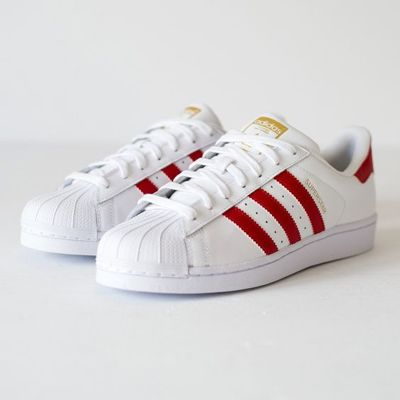 adidas originals superstar red and white