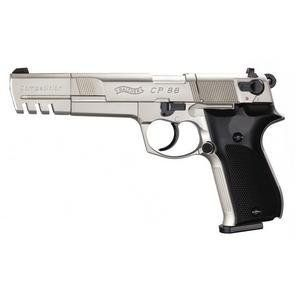 "Walther CP88, Nickel, 6 inch barrel air pistol by Walther. $209.95. This compensated CP88 Competition air pistol uses a 6"" barrel versus the 4"" found on the standard CP88 airgun. The longer sighting plane of the 6"" barrel and a smooth trigger pull in either single or double action insures exceptional accuracy from this CO2 powered replica.  *(Check Air Gun Restriction List)"