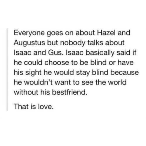 it's definitely true that Isaac's character isn't given the importance it deserve. He is an amazing friend and an example of a person that lost it all but didn't give up.