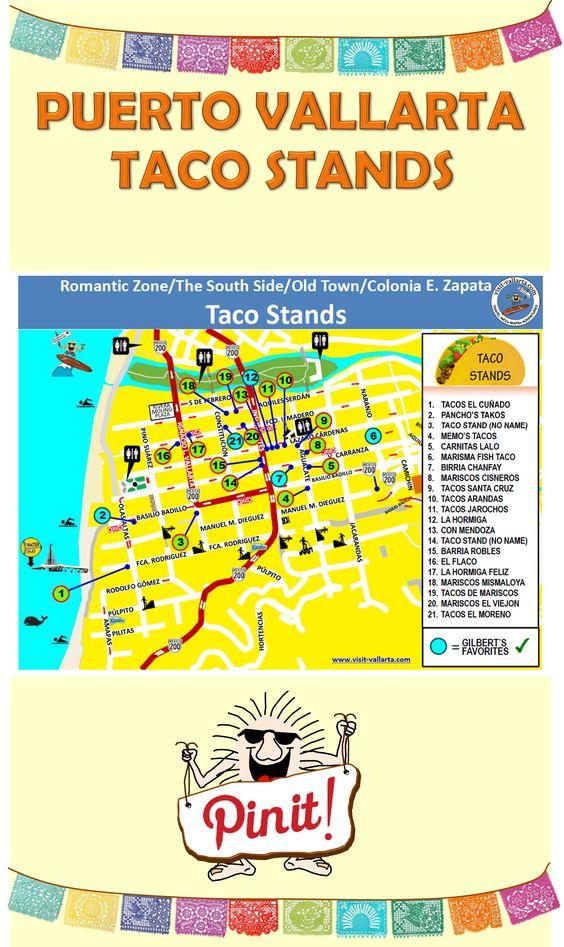 Map of Taco Stands in Puerto Vallarta.  #Taco #PuertoVallarta #MexicanFood  For more information visit us at: www.visit-vallarta.com
