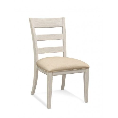 Ladder Back Rustic Weathered White Accent Dining Chair In 2020 Side Chairs Wood Side Chair Dining Chairs