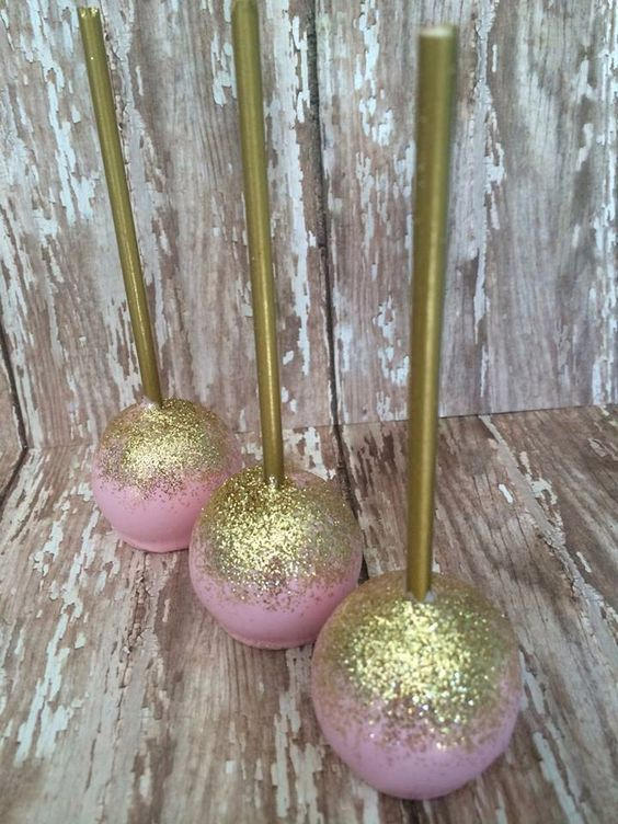 12 Pink and Gold Shimmer Cake Pops Wedding Favors Birthday Baby Bridal Shower Party Sweets Table Candy Buffet by SparklingSweetsShop on Etsy https://www.etsy.com/listing/196010354/12-pink-and-gold-shimmer-cake-pops