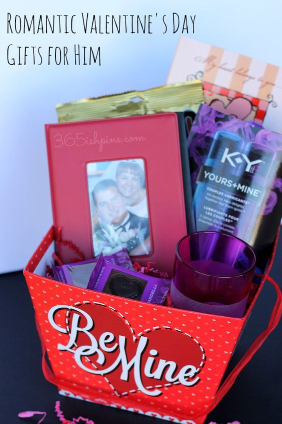 This Valentine's Day, surprise your man with a gift basket full of goodies he'll actually want (including some handy  printable coupons!)