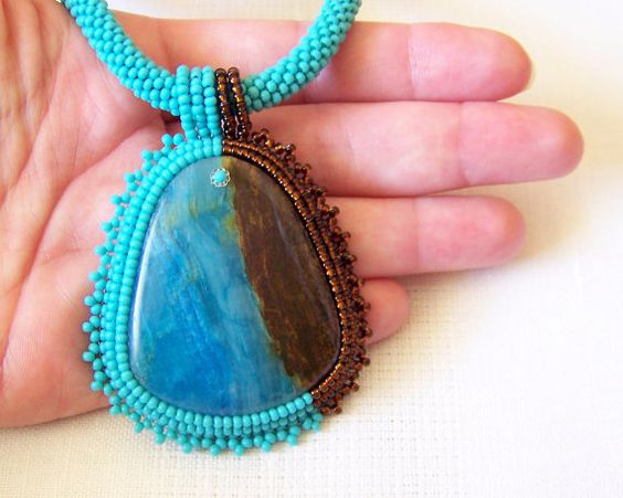Beadwork Bead Embroidery Pendant Necklace with Blue Lace by lutita
