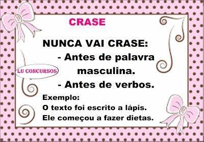 Lu Concursos: CRASE: DICAS E MACETES