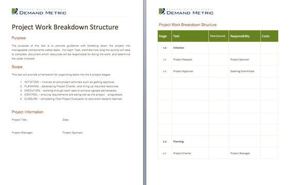 Project Work Breakdown Structure - A worksheet to divide the - work breakdown structure sample