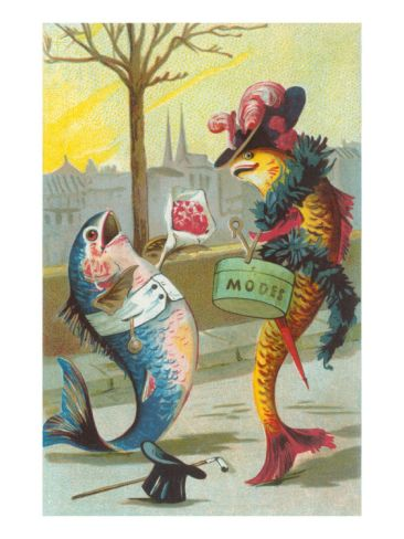 Two Fashionable Fish Meet on the Street Premium Poster at Art.com