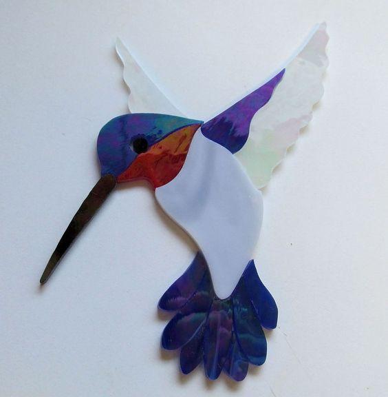 Hummingbird 11 Precut Stained Glass Art Kit Mosaic Inlay
