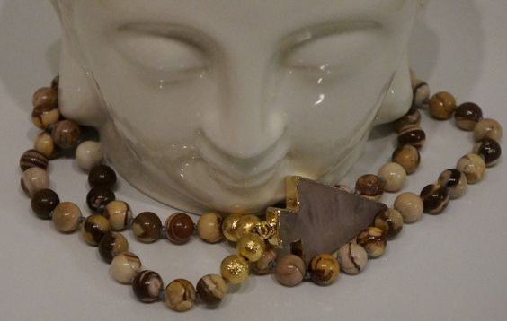 Crystal, Gold Trimmed, Arrow Head Mala bead Bohemien Necklace by AdaezeCulture