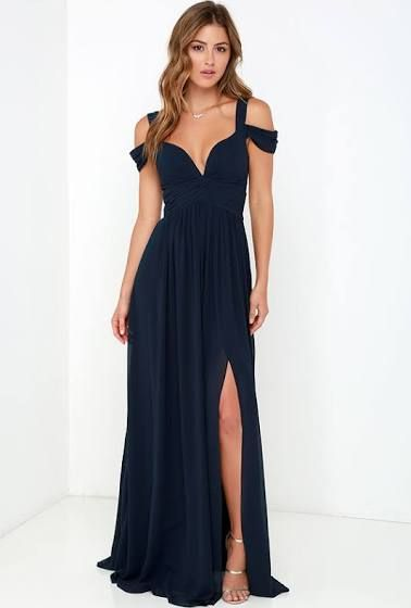 Midnight Blue Waterfall Prom Dress 33