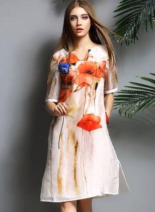 Seda Linen Floral Manga corta Hasta las rodillas De época Vestidos