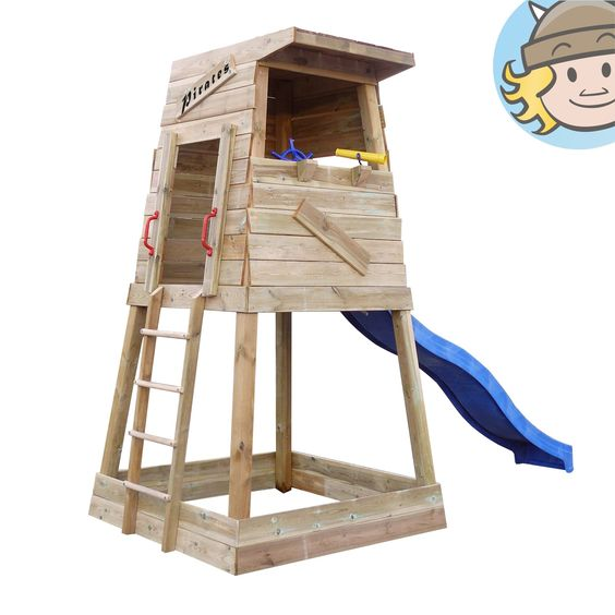 WICKEY Climbing frame Pirates Nest Sandpit Wave Slide | eBay