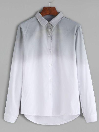 Chemise à revers manche longue avec boutons - gris -French SheIn(Sheinside)