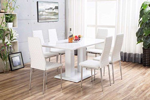 Imperia White High Gloss Dining Table Set And 6 Milan Chrome Faux Leather Hatched Dining Chairs 189 9 Dining Table Setting Dining Table Leather Dining Chairs
