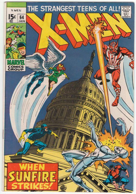 X Men 64 Vg F Origin And First Appearance Of Sunfire Sal Buscema Cover Art 52 Marvel Comics Covers Marvel Comics Superheroes Comics