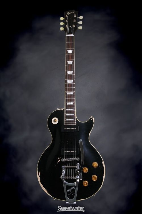 Gibson Custom 56 Les Paul Standard Made To Measure Ebony Heavy Aged Sweetwater Com Solidbody Electric Guitar With Mahogany Bod Instruments かっこいいギターデザインまとめ ギター ギブソン レスポール