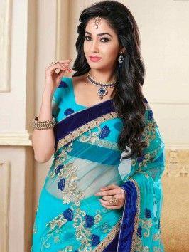 Light Blue Net Saree With Resham Work