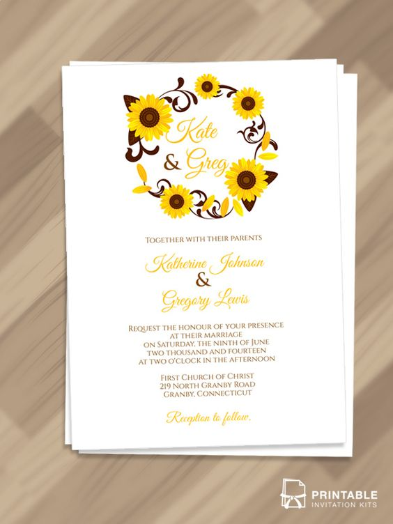 free pdf invitations  sunflowers wreath invitation for