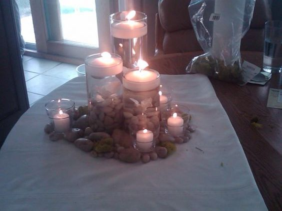 Flameless candle centerpiece let s get married