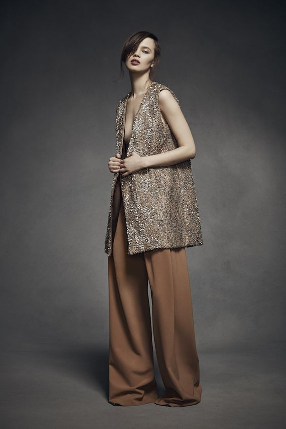 Bronze Vest and Camel Pants from Mi Jong Lee's 2016 Fall Collection