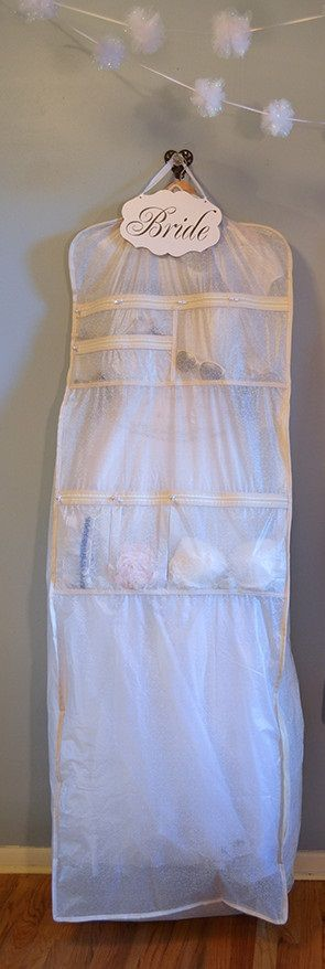 Bridal garment bags: The ultimate Bridal Dress Garment Bag. 9 pockets for all of your accessories. Breathable Garment bag with full width gusset. From your veil to your heels, everything for your perfect bridal look in one easy grab-and-go, spill proof garment bag. This would make for the perfect bridal shower gift!