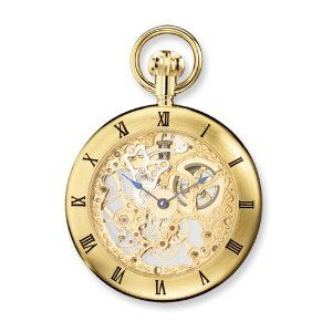 Charles Hubert IP-pltd Stainless Open Face Skeleton Pocket Watch Jewelry Adviser Charles Hubert Watches. $254.23