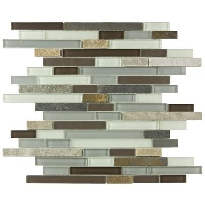 """EliteTile Sierra 12"""" x 11-3/4"""" Piano Glass and Stone Mosaic Wall Tile in Tundra"""