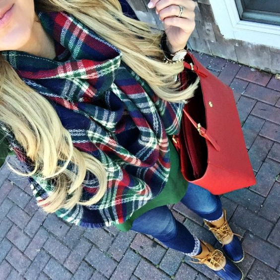 blanket scarf, green tee, and bean boots #ShopDandy
