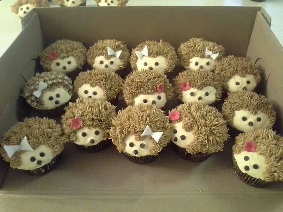 Hedgehogs cupcakes! I don't think I could eat them, they are so cute.