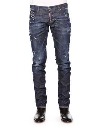 Distressed+Slim-Fit+Denim+Jeans,+Blue+by+Dsquared2+at+Neiman+Marcus.