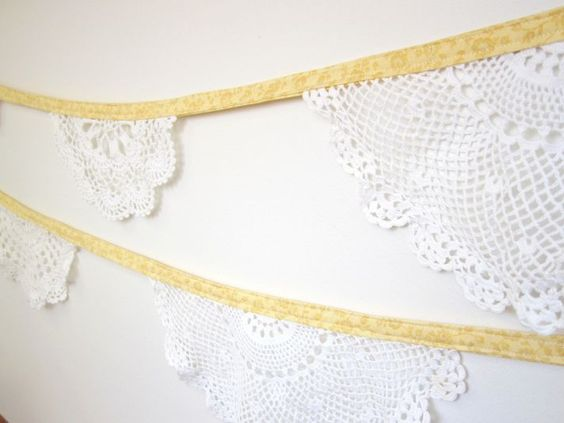 Lace doily bunting! Great and gorgeous DIY for brides and those hosting an event.