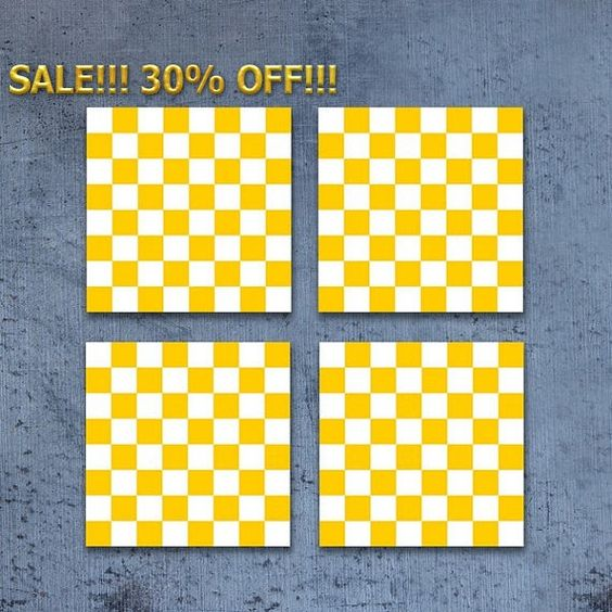 Sale 30% FREE SHIPPING Yellow and white checkered coasters Set of square retro drink coasters Holiday gift Hostess gift CR083 by StudioDhomeDecor