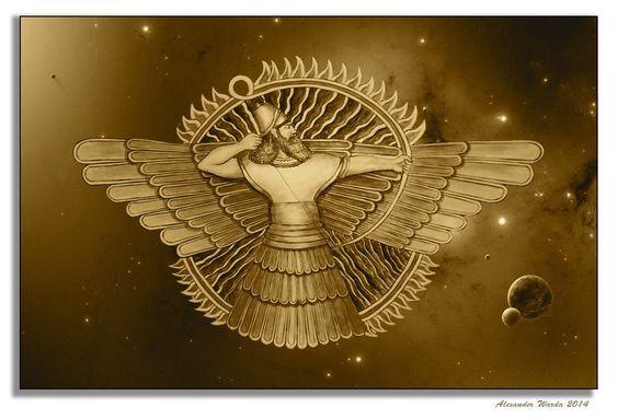 El símbolo del dios asirio Assur, fue utilizado después para representar a la divinidad Ahura Mazda.