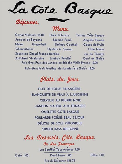 La cote basque 1972 menu restaurant museum pinterest for Auguste escoffier ma cuisine book