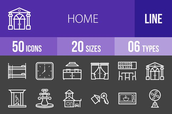 50 Home Line Inverted Icons by IconBunny on @creativework247