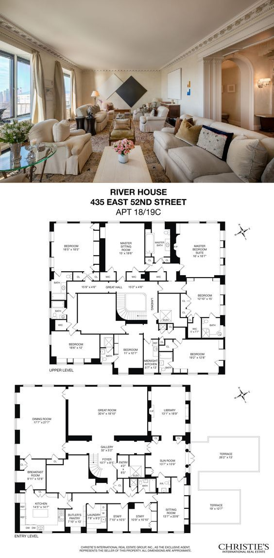 Posh River House Duplex With Panoramic East River Views Seeks 22 5m River House Architectural Floor Plans Apartment Floor Plans