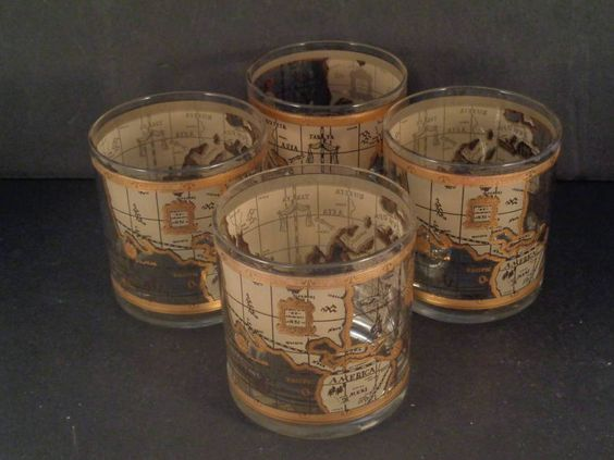Vintage cera gold glasses lo ball old world map drinking glass vintage cera gold glasses lo ball old world map drinking glass thrifty finds to sell pinterest glass bar and vintage gumiabroncs Image collections