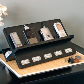 Ledger Electronic Holder, Cell Phone Charging Station | Solutions  Need this as we have chargers and equipment lost all the time!