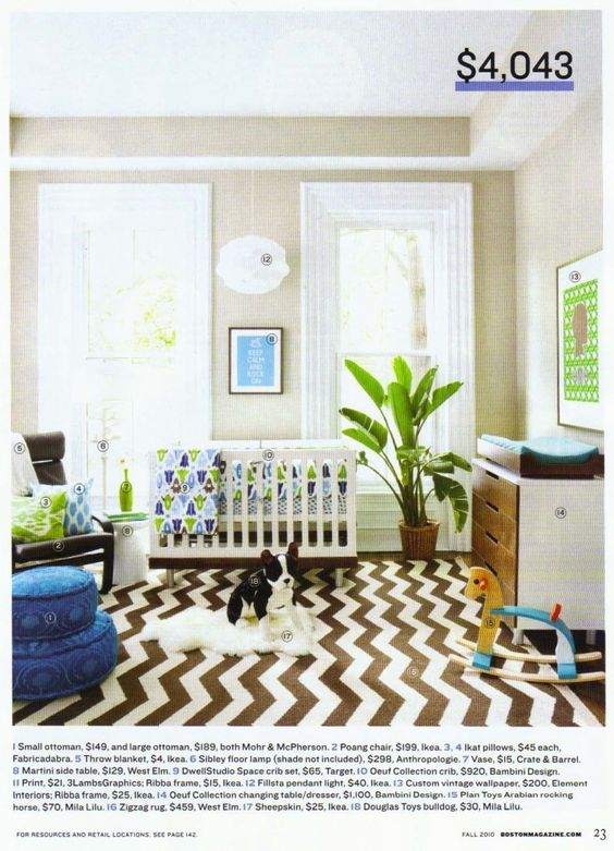 Pops of green and blue. And bold rug.