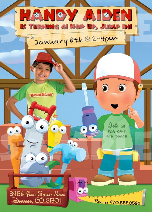 Handy Manny Birthday Party Invitations – Handy Manny Party Invitations