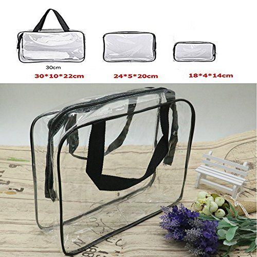 Ids 3 Pack Clear Pvc Toiletry Bag Set With Zipper For Vac Https Www Amazon Com Dp B06xxswbgh Ref Clear Cosmetic Bag Toiletry Bag Cosmetic Bag Organization