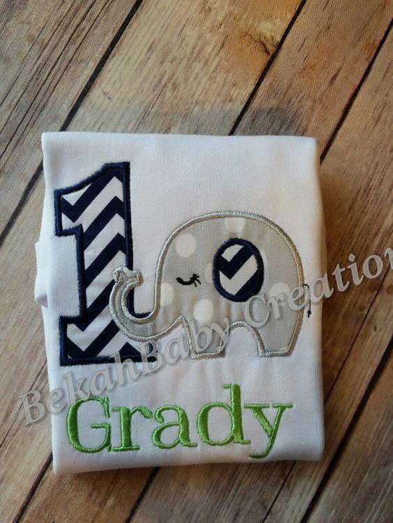 Boy elephant applique shirt by BekahBabyCreations04 on Etsy