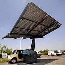 Ombrière photovoltaïque - station solaire de recharge pour véhicules