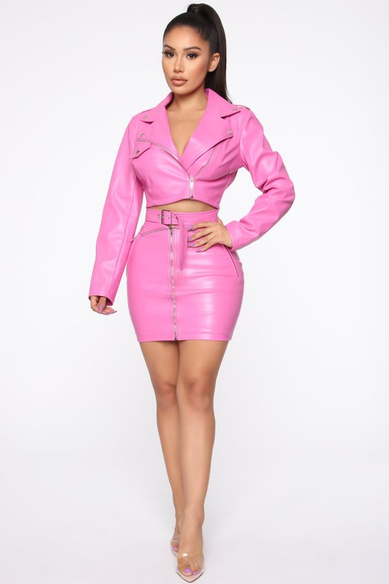 Josie PU Moto Skirt Set - Pink – Fashion Nova